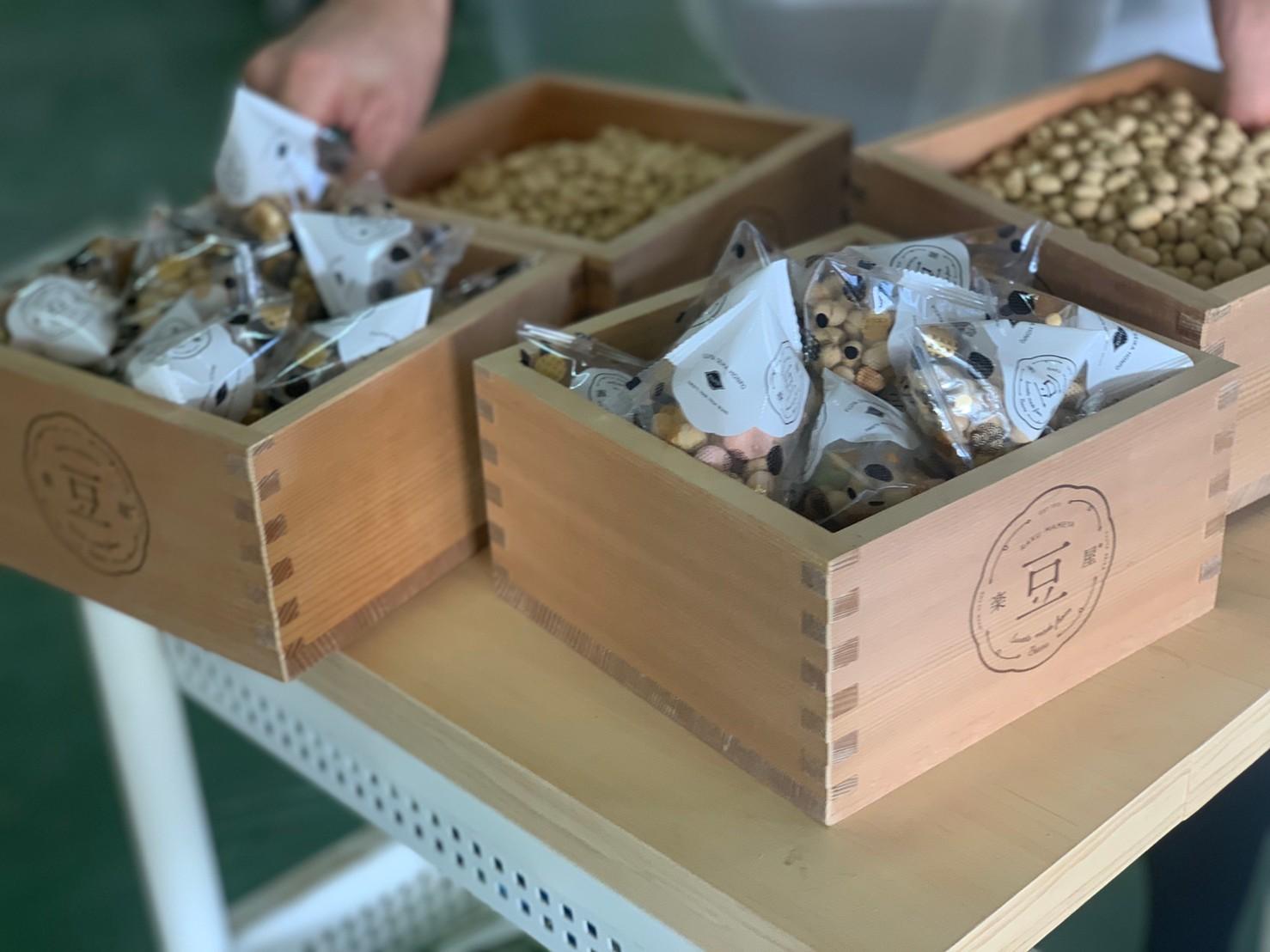 工場で豆まきに使う一升枡